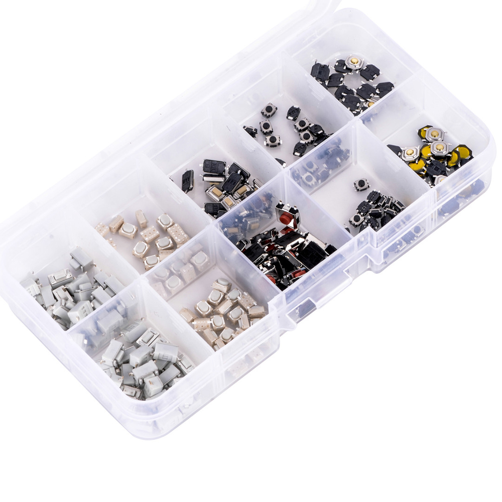 250pcs/box Mixed Tactile Touch Push Switch Kit 10 Types Mayitr Car Remote Control Button Microswitch For Electronic Products okeytech tactile push button touch switch car keys remote microswitch micro switch for citroen peugeot opel push tactile 6 3 8mm