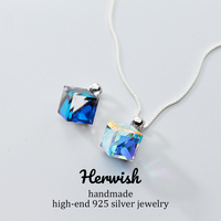 Herwish Aurora Sugar Cube Pendant Necklace Square Crystal 925 Sterling Silver Box Chain Women Jewelry Trendy Fashion
