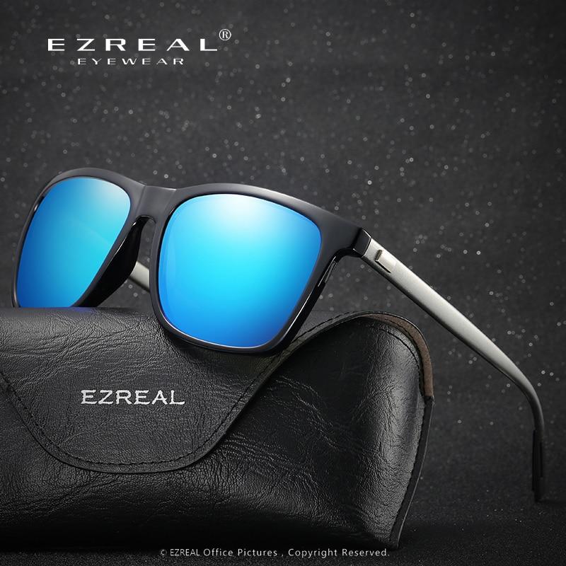 EZREAL 패션 선글라스 남성 HD 편광 선글라스 운전 거울 코팅 블랙 프레임 안경 남성 태양 안경 UV400