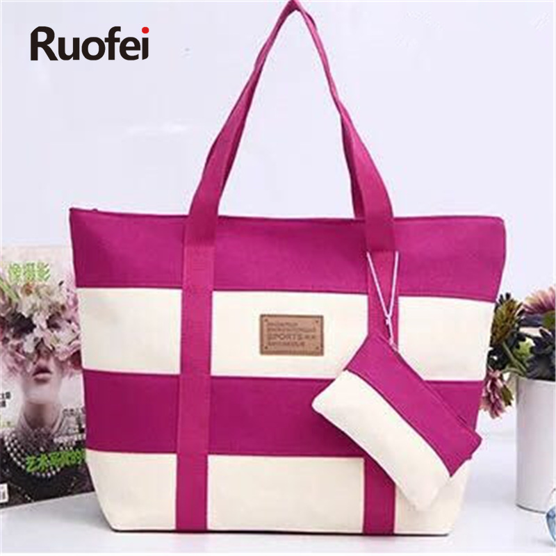 2017Women Beach Tote Bag Fashion Color Stripes Utskrift Handväskor Ladies Large Shoulder Bag Totes Casual Shopping Bag handväska