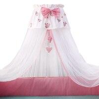 Роскошные Детская кровать москитная сетка Круглый купол кровать с москитной сеткой с подвесными игрушками В стиле принцессы вышивка детск