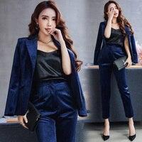 Suit Women velvet blazer set Dark Blue single Breasted formal business Pants suits ladies office work wear clothing jn121