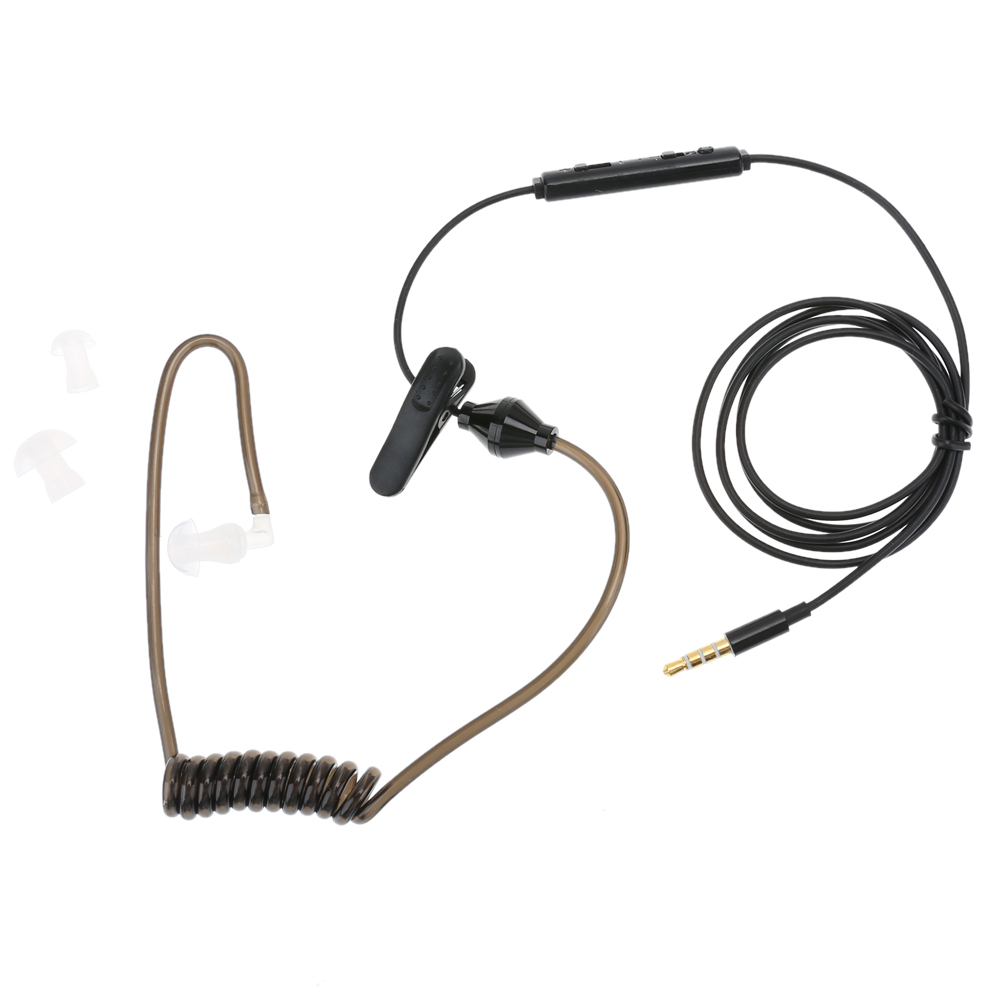 Black 3.5mm Air Tube Headset Anti-radiation Stereo Earphone Covert Acoustic Tube Earpiece for iPhone smartphone