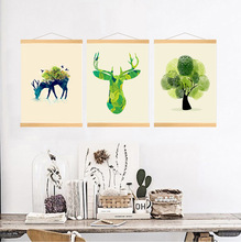 Nordic Style Deer Print Minimalist Wall Art Canvas Painting Hanging Poster with Wooden Frame, Home Decor