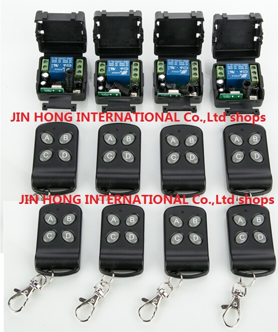 2016 New 12V 1ch wireless remote control switch system 8pcs transmitter & 4pcs receiver relay smart house Free shipping 1ch wireless remote control switch system z wave 12v 4pcs receiver