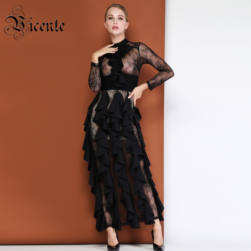 Vicente HOT 2019 New Fashion Ruffles Embellished Graceful Lace Long Sleeves Wholesale Celebrity Party Wear Maxi