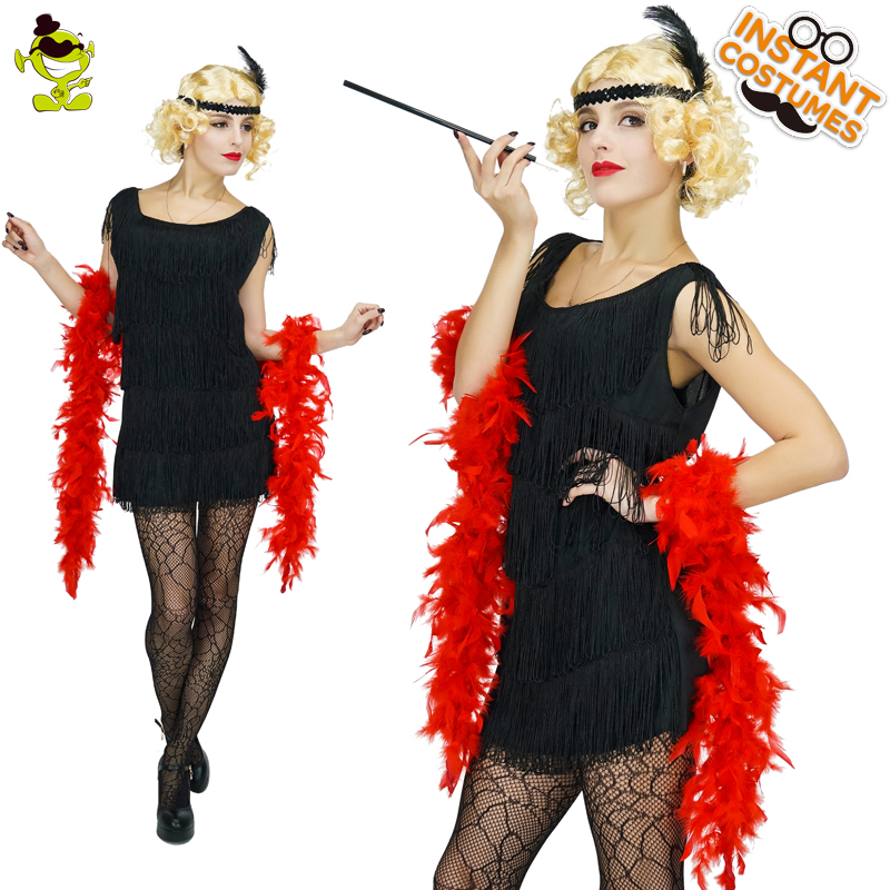 Womens Black Sequin Flapper Dress Costume adult 1920 s fancy dress Cosplay  Party Costumes e178a39bd4ed