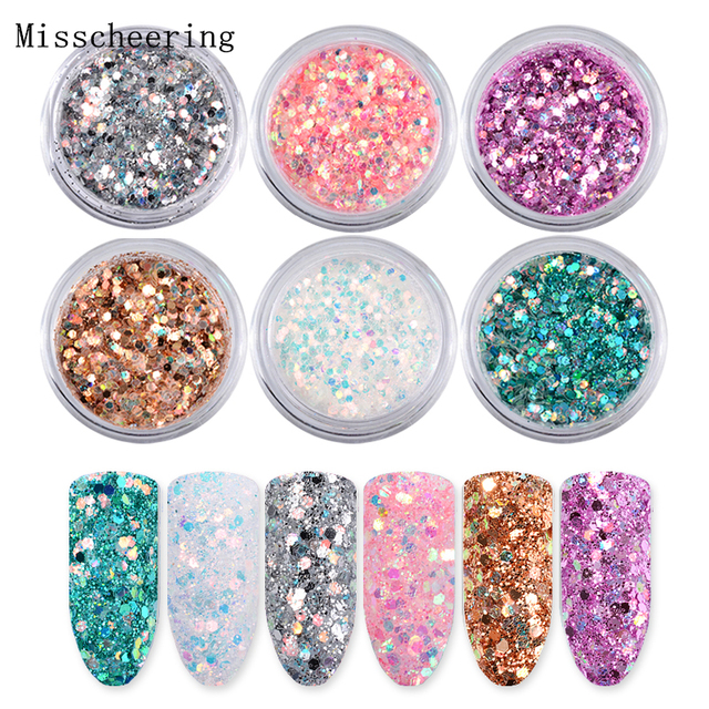 6boxes/set Laser Mixed Nail Glitter Powder Sequins Shinning Colorful Nail Flakes 3d DIY Charm Dust For Nail Art Decorations