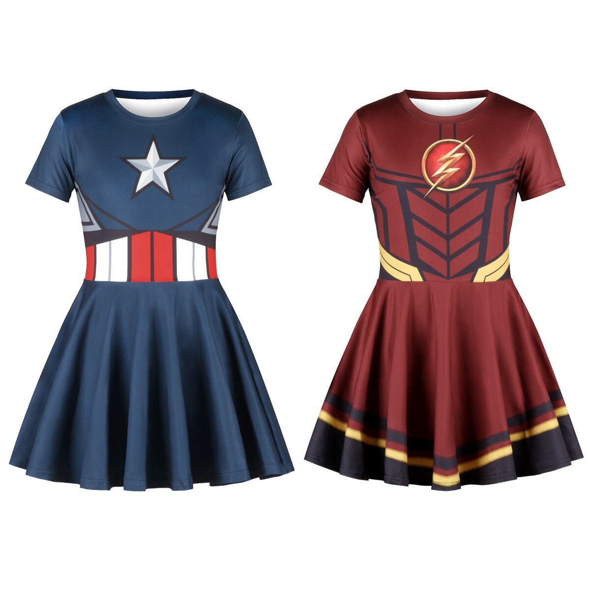 Captain America Flash Cosplay Anime Print 3D Girls Dresses 2019 Summer Girl Dress Kids Children Short Sleeve Princess Dresses