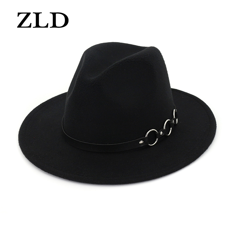ZLD New Women Men Wool Vintage Gangster Felt Fedora Hat With Wide Brim Gentleman Elegant Lady Winter Autumn Belt Jazz Caps