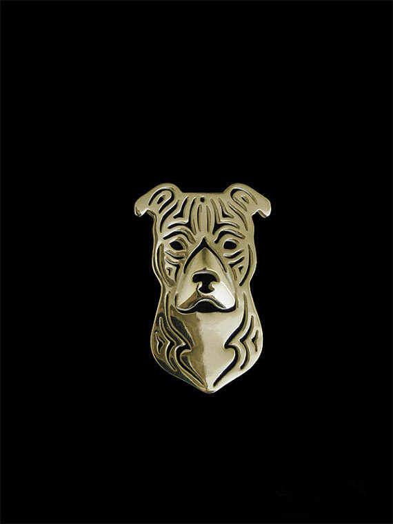Trendy personalized American Staffordshire Terrier dog brooches and pins plated silver plated men brooches fashion jewelry