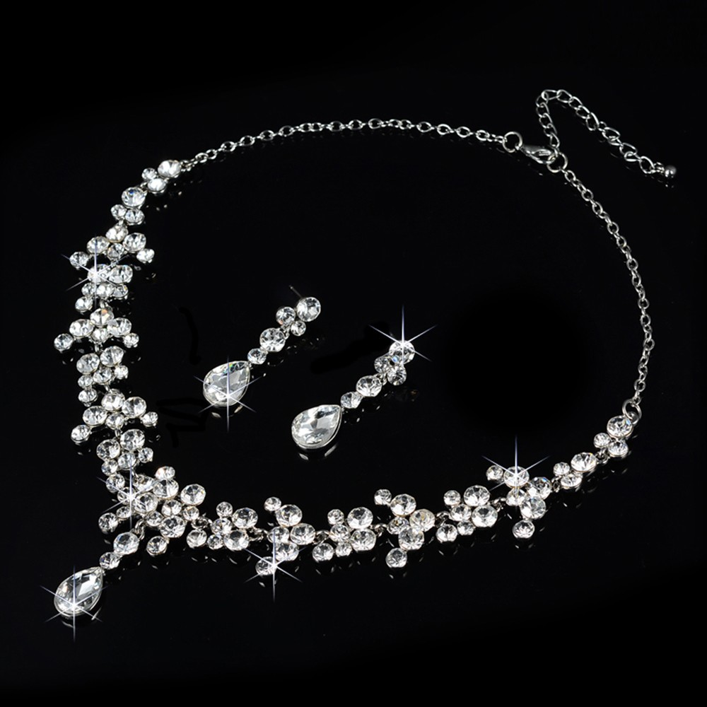 bridal jewelry set wedding dress pearl rhinestone necklace accessories women earrings silver plated luxurious party bijoux D026 (2)