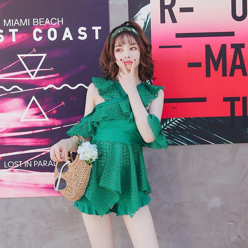 Swim Suit Women Swimwear One Piece Wear 2018 Plus Size Pure Girl Skirt Push Up Bubble Solid Spandex Sierra Surfer Swimsuit