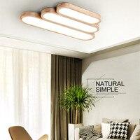 Лампы в японском стиле головоломки светодио дный потолочный светильник для Спальня Гостиная Nordic татами длинная полоса Форма твердой древе