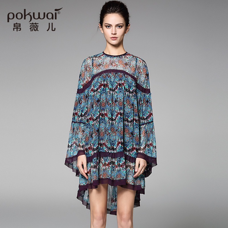 POKWAI Casual / hétköznapi Nyári selyem ruha, Kiváló minőségű - Női ruházat