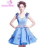 Short Homecoming Dresses New Arrival With Butterfly Bows A Line Strapless Sleeveless Blue Bridesmaid Dresses Vestido