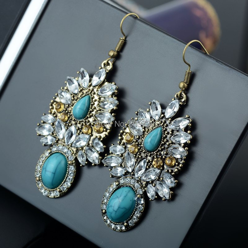 Hot Bronze Green Rhinestone Earring Indian Style Big