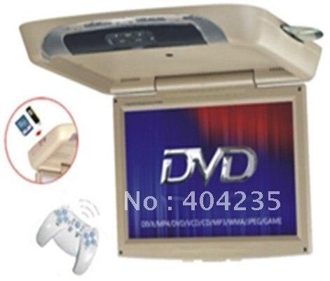 Wholesales 17 inch Flip-down Roof mounted car DVD player for all car with DivX,TV,FM,IR,USB,SD,Game,CLOCK,AV IN,AV OUT,speaker