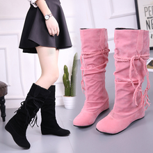 New Winter Women's Snow Boots Fashion Flat Lace-up Middle Tube Mid-calf Boots Casual Internal Increase Platform Boots Female недорого