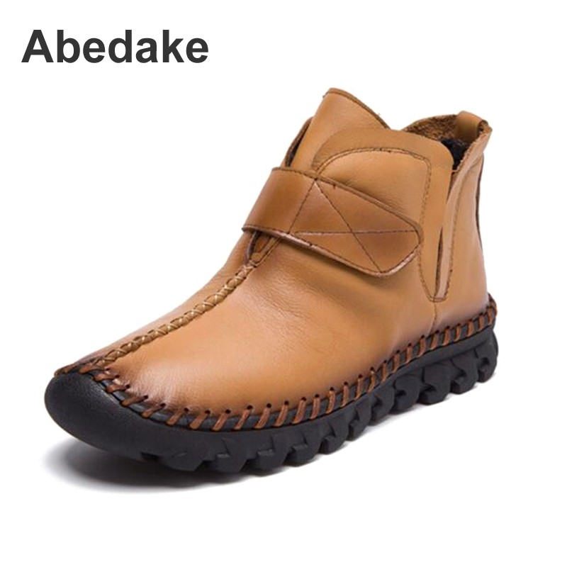 Abedake brand women boots genuine handmade genuine leather women autumn winter ankle boots winter women shoes women ankle boots handmade genuine leather woman boots autumn winter round toe soft comfotable retro boot shoes female footwear