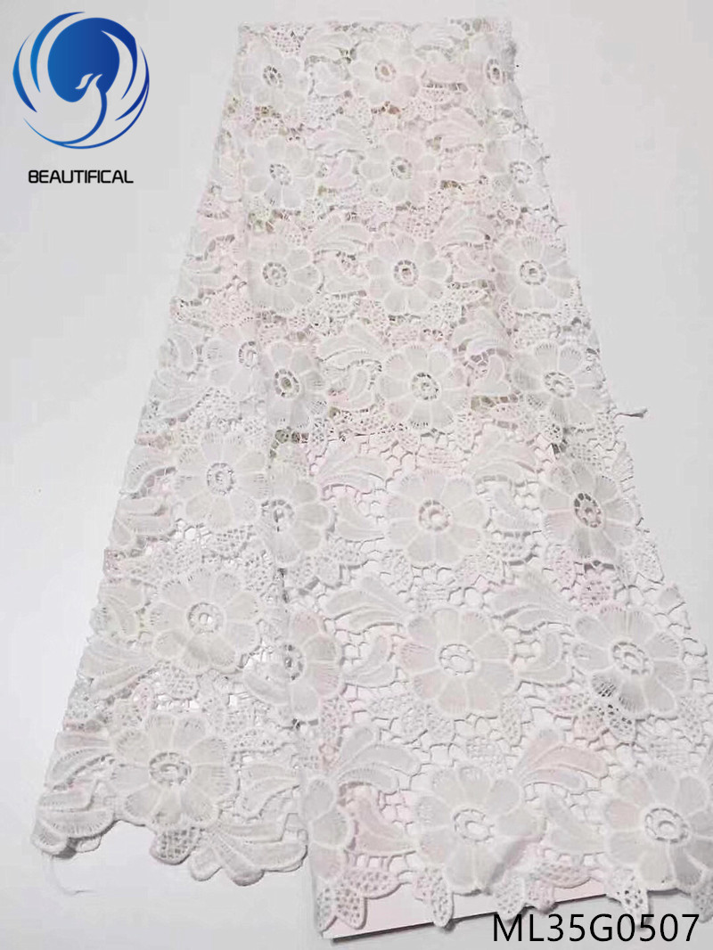 BEAUTIFICAL White african lace fabrics bridal guipure lace fabric New arrival silk milk water soluble lace