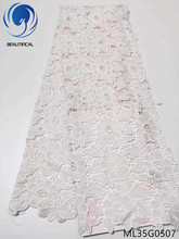 BEAUTIFICAL White african lace fabrics bridal guipure fabric New arrival silk milk water soluble 5yards ML35G05