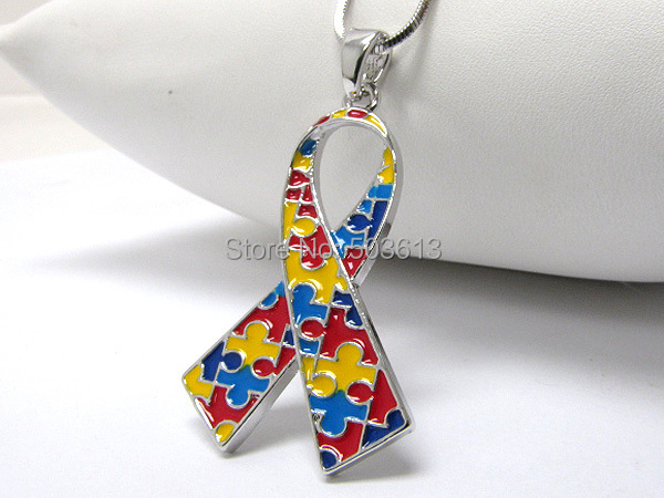 Fashion Mix Color Enamel Alloy Autism Awareness Ribbon Pendant Necklace one piece 4.4CM  ...