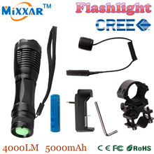 Zk50 CREE XM-L T6 led 4000Lm antorcha zoomable linterna táctica para La Caza + 1*18650 battery + Interruptor Remoto + cargador + el Montaje Del Arma