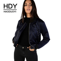 HDY Haoduoyi Brand Women Blue Casual Jackets Lace Up O Neck Zipper Pockets Female Slim Fashion