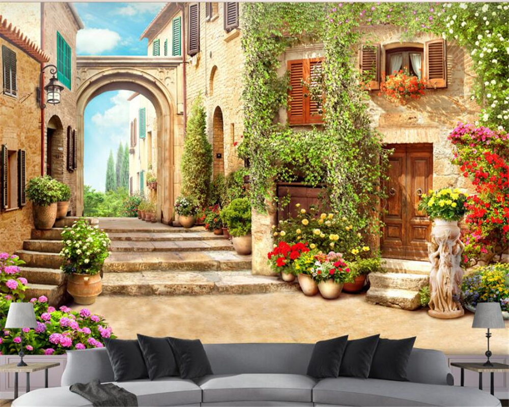 online get cheap beautiful country wallpaper aliexpress com beibehang 3d wallpaper retro fashion high country beautiful town seductive street view 3d background wall papel