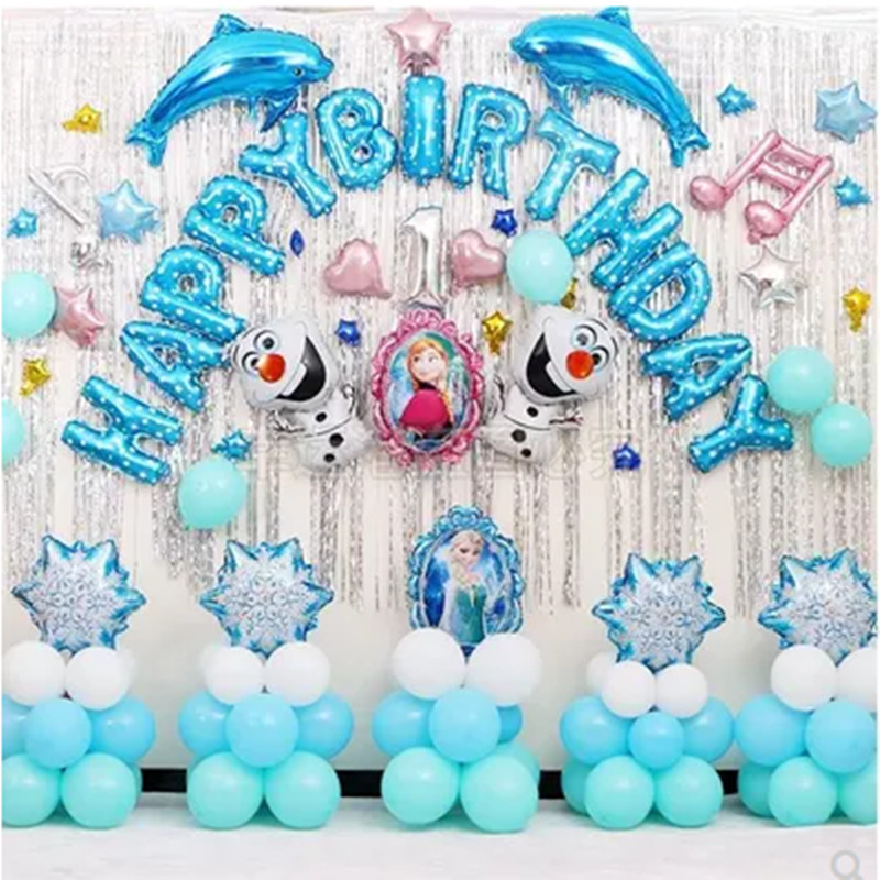 Elsa Frozen Birthday Balloon Package Bachelorette Party Decorations Happy Birthday Wall Decoration Balloon