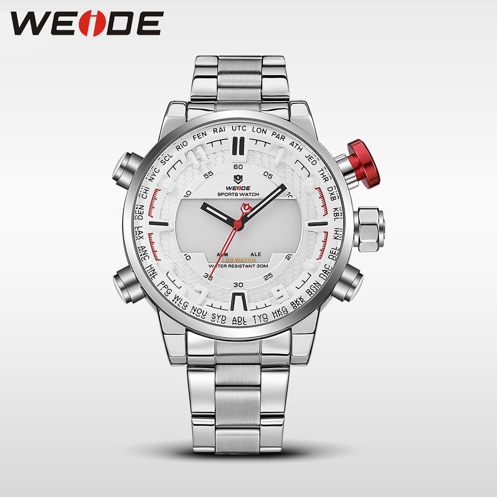 WEIDE men watch luxury brand LED sport digital watch stainless steel relogio automatico waterproof watch automatic watch цены