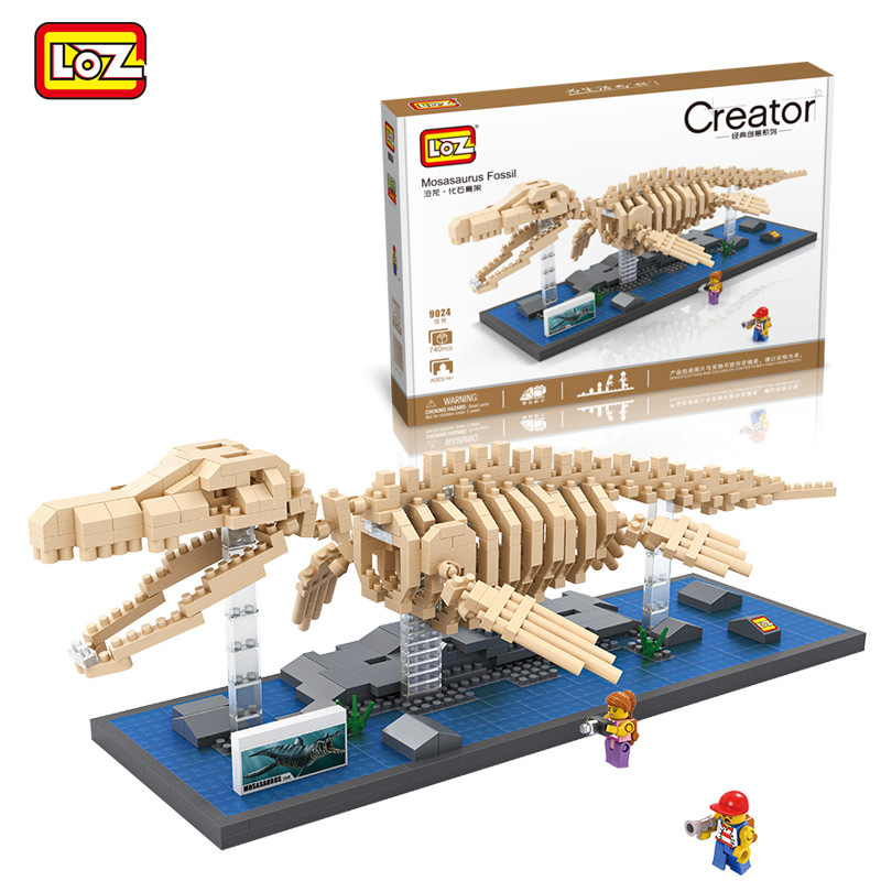 740pcs LOZ Diamond Building Blocks Jurassic World Mosasaurus Fossil Model Nano Bricks DIY Assemble Toys Children Education Toys loz diamond blocks figuras classic anime figures toys captain football player blocks i block fun toys ideas nano bricks 9548