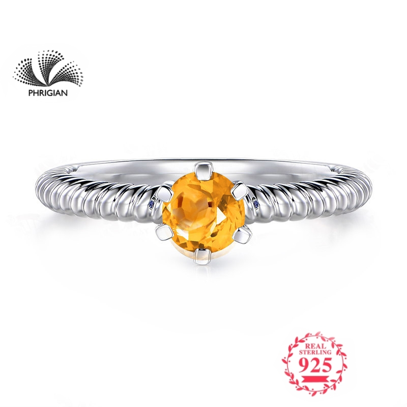 NOT FAKE Fine natural Engraving Sterling silver  gemstone Round cut ring Women custom jewelry 925 carat Yellow Citrine RINGNOT FAKE Fine natural Engraving Sterling silver  gemstone Round cut ring Women custom jewelry 925 carat Yellow Citrine RING