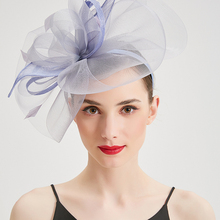 Women Wedding Fascinators Hats Royal Hat Elegant Feather Veil headband Flower Lady Headwear Party Vintage Fedora Caps