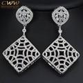 2017 Women Luxury Wedding Party Jewelry CZ Crystal Long Drop Rhombus Earrings With Micro Pave Cubic Zirconia Stones CZ329