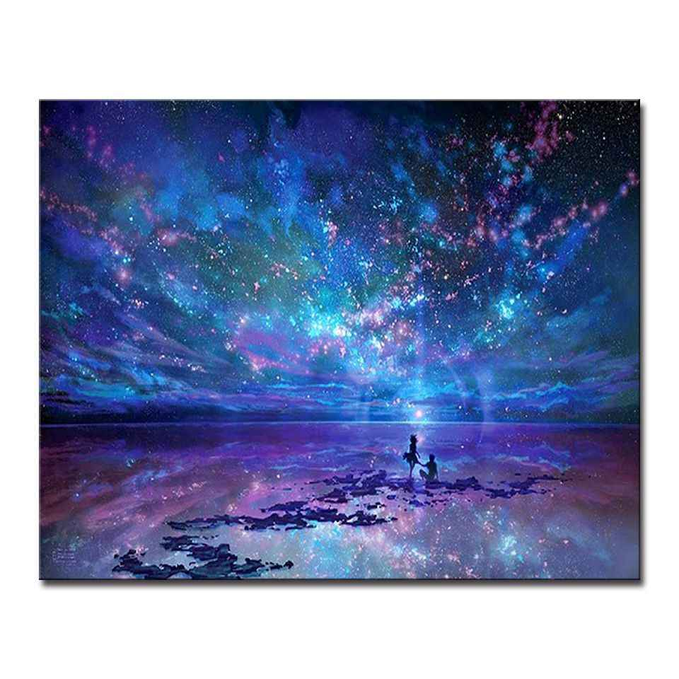 Fantasy Romantic Star Sea DIY Painting By Numbers Starry Sky Aurora Oil Pictures Hand Paint Coloring Canvas Home Wall Art Decor