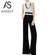 Anself Vintage Women Loose Trousers Zipper High Waist Pocket Front Flare Wide Leg Office Ladies Pants Black Bell Bottom Pants