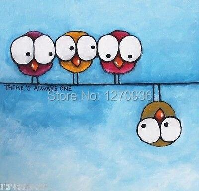Милый маленький птицы на ветках и один сувенирной продукции Под ветвями одинок картина маслом на холсте Ручная роспись стен