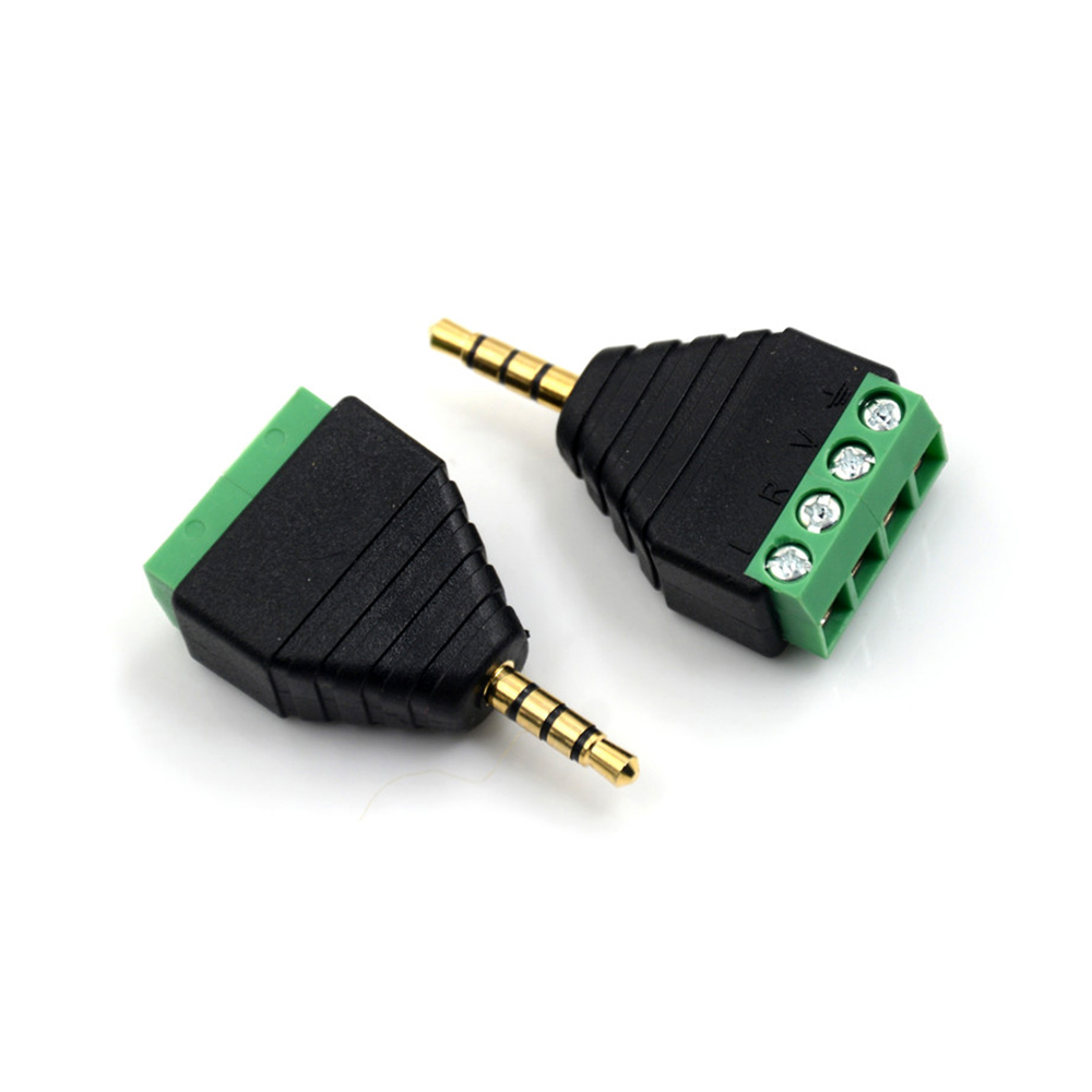 2 pcs Video AV Balun 3.5mm 4 Pole Stereo Male To AV Screw Terminal Stereo Jack 3.5 Mm Male 4 Pin Terminal Block Plug Connector