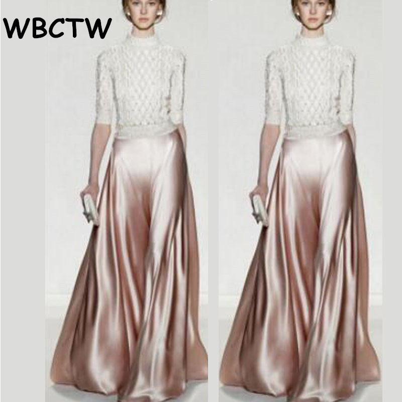 WBCTW 2018 Woman Skirts   Pants   Plus Size Runaway Satin Flare Maxi   Pants   Women Spring Custom Solid Black Casual   Wide     Leg     Pants