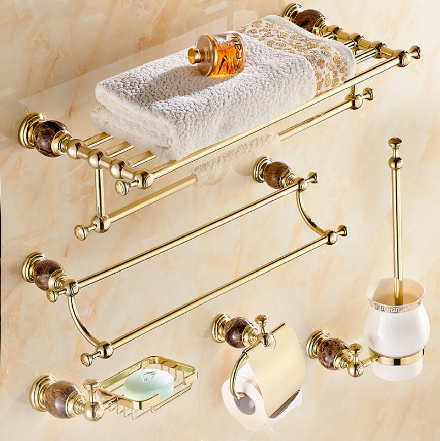 Brass & Jade Bathroom Accessories Set, Gold Hooks, Toilet Brush Holder, Paper Holder,Towel Bar,Towel Rack bathroom Hardware set antique copper toilet brush holder ceramic solid brass bathroom toilet brush cup holder rack bathroom brush shelf