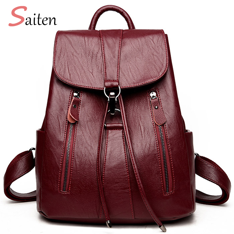 zooler backpack casual 2017 new high quality woman leather backpacks school bag red pots designed backpack mochila d118 High Quality Leather Backpack Woman New Arrival Fashion Female Backpack String Bags Large Capacity School Bag Mochila Feminina