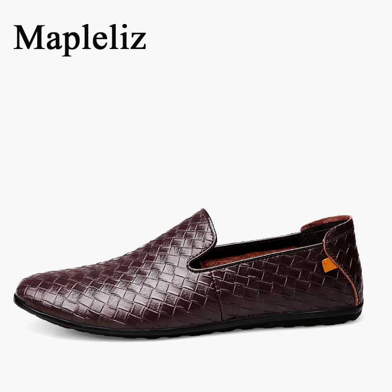 Mapleliz  Brand Polka Dot Fashion Full Grain Leather High Quality Moccasins Men Shoes Slip-On Solid  Leisure Summer Loafers 2015 new spring and summer british top fashion leisure driving full grain embossed genuine leather slip on men s loafers shoes