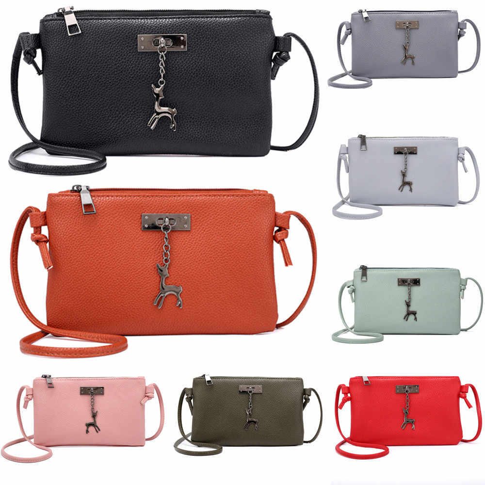 Womens Artificial Leather Causal Female Crossbody Bag Small Deer Zipper Pure Color Messenger Shoulder Bags Coin Purse 10jul 16