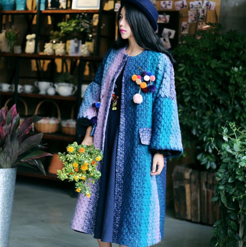 Mx outono inverno quente New moda feminina elegante Plus Size Casual solto faixa de lã gradiente longo sobretudo casacos casacos