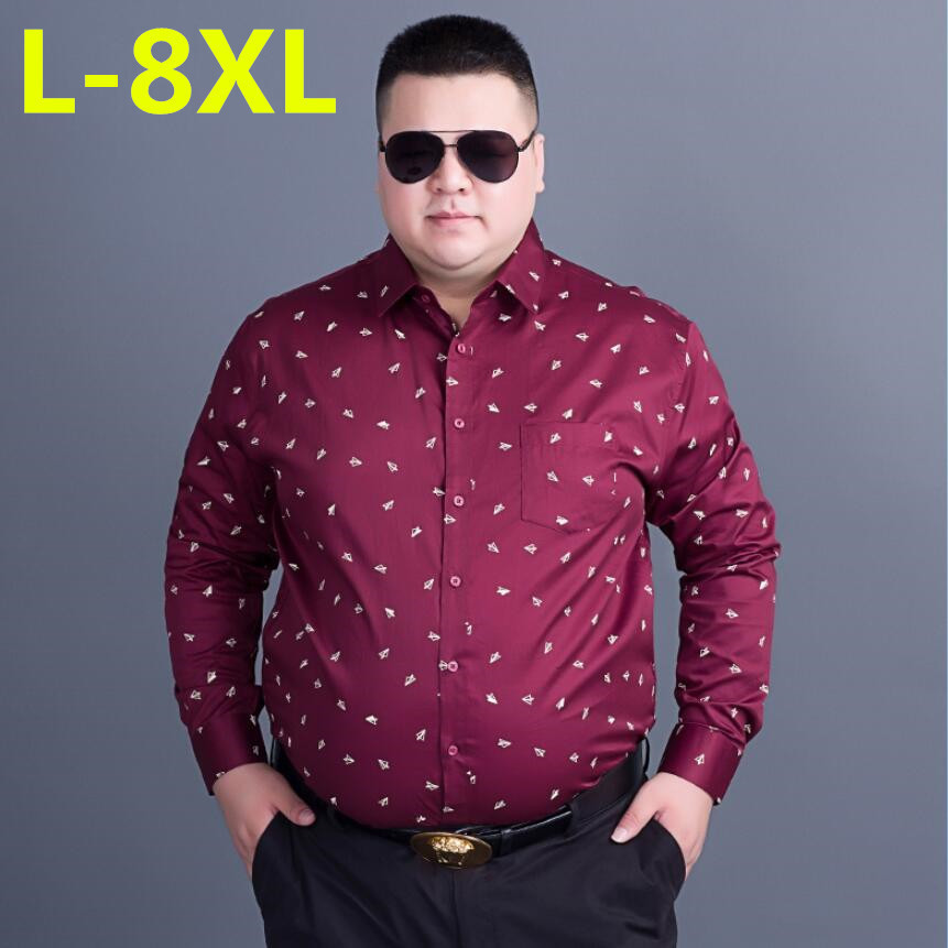 Men's Clothing Casual Shirts Plus Size 8xl 7xl 6xl Autumn Brand Men Clothes Slim Fit Men Long Sleeve Shirt Men Polka Dot Casual Men Shirt Social 2017 New Preventing Hairs From Graying And Helpful To Retain Complexion