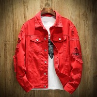 Autumn New Men's Jean Jacket Slim Fit Cotton Denim Jacket Red White Black Ripped Hole Jean Coats Men Cowboy Youth Men 5XL