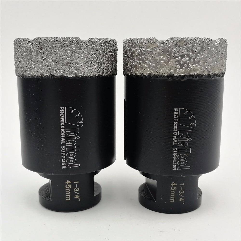 DIATOOL 2pcs 45mm Vacuum Brazed Diamond Dry Drilling Bits Diameter 1-3/4 Drill Bits 5/8-11 Connection For Marble Granite Tile best promotion 10pcs set diamond holesaw 3 50mm drill bit set tile ceramic porcelain marble glass top quality