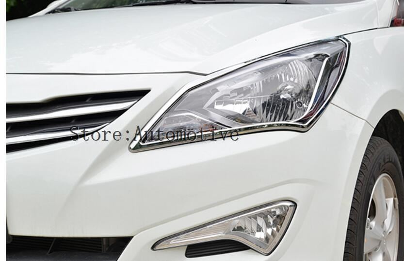 ABS Chrome front headlight Lamp Cover For 2014 2015 2016 4dr for Hyundai VERNA Solaris